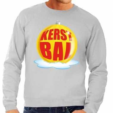 Goedkope foute kersttrui kerstbal geel op grijze sweater voor heren