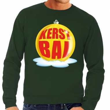 Goedkope foute kersttrui kerstbal geel op groene sweater voor heren