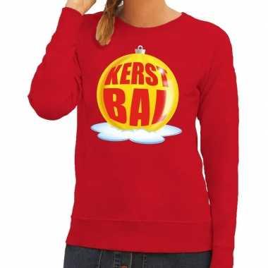 Goedkope foute kersttrui kerstbal geel op rode sweater voor dames