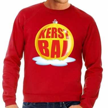 Goedkope foute kersttrui kerstbal geel op rode sweater voor heren