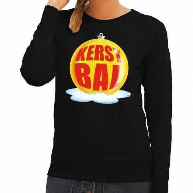 Goedkope foute kersttrui kerstbal geel op zwarte sweater voor dames