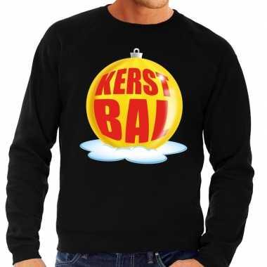 Goedkope foute kersttrui kerstbal geel op zwarte sweater voor heren