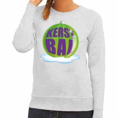 Goedkope foute kersttrui kerstbal groen op grijze sweater voor dames