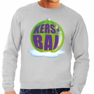 Goedkope foute kersttrui kerstbal groen op grijze sweater voor heren