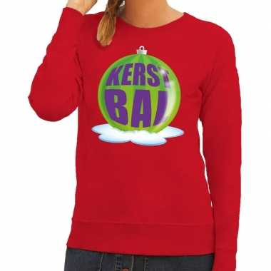 Goedkope foute kersttrui kerstbal groen op rode sweater voor dames