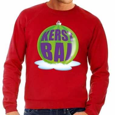 Goedkope foute kersttrui kerstbal groen op rode sweater voor heren