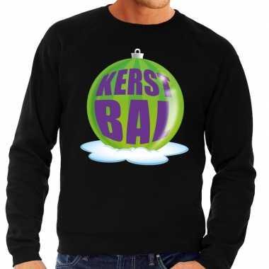 Goedkope foute kersttrui kerstbal groen op zwarte sweater voor heren