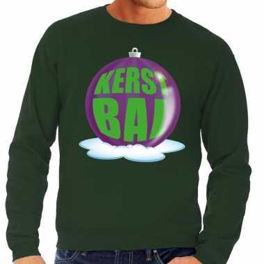 Goedkope foute kersttrui kerstbal paars op groene sweater voor heren