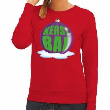 Goedkope foute kersttrui kerstbal paars op rode sweater voor dames