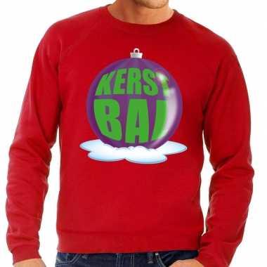Goedkope foute kersttrui kerstbal paars op rode sweater voor heren