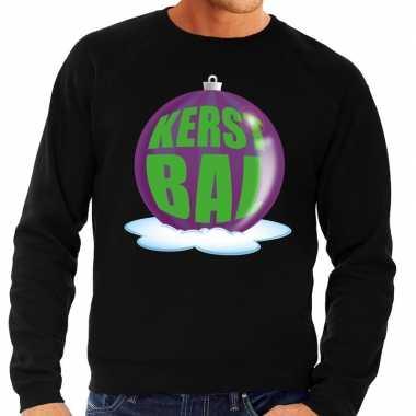 Goedkope foute kersttrui kerstbal paars op zwarte sweater voor heren