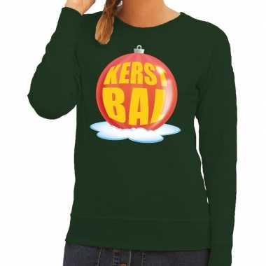 Goedkope foute kersttrui kerstbal rood op groene sweater voor dames