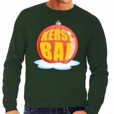 Goedkope foute kersttrui kerstbal rood op groene sweater voor heren