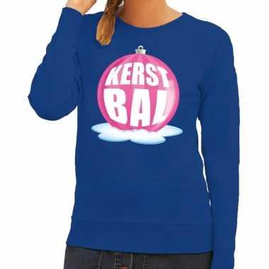 Goedkope foute kersttrui kerstbal roze op blauwe sweater voor dames