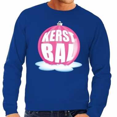 Goedkope foute kersttrui kerstbal roze op blauwe sweater voor heren
