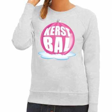 Goedkope foute kersttrui kerstbal roze op grijze sweater voor dames