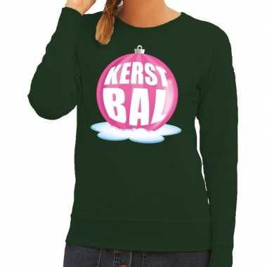 Goedkope foute kersttrui kerstbal roze op groene sweater voor dames