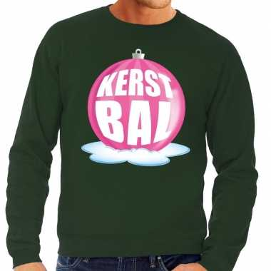 Goedkope foute kersttrui kerstbal roze op groene sweater voor heren