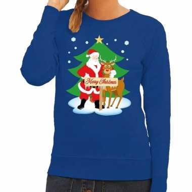 Goedkope foute kersttrui kerstman en rendier rudolf blauw dames