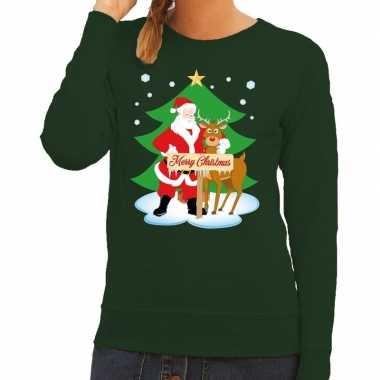 Goedkope foute kersttrui kerstman en rendier rudolf groen dames
