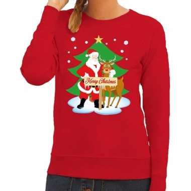 Goedkope foute kersttrui kerstman en rendier rudolf rood dames