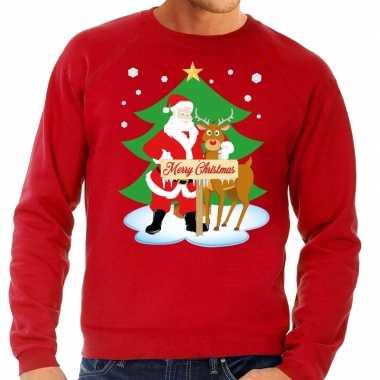 Goedkope foute kersttrui kerstman en rendier rudolf rood heren