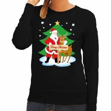 Goedkope foute kersttrui kerstman en rendier rudolf zwart dames