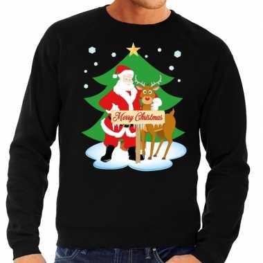 Goedkope foute kersttrui kerstman en rendier rudolf zwart heren
