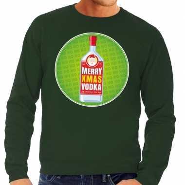 Goedkope foute kersttrui merry christmas vodka groen heren