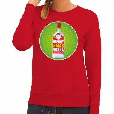 Goedkope foute kersttrui merry christmas vodka rood dames