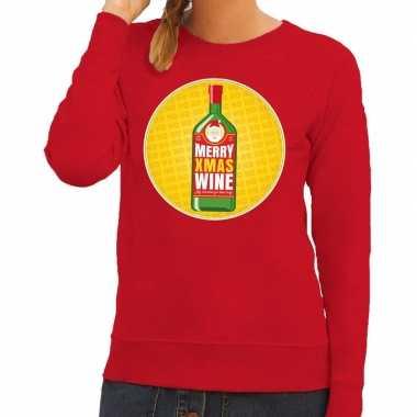 Goedkope foute kersttrui merry christmas wine rood dames