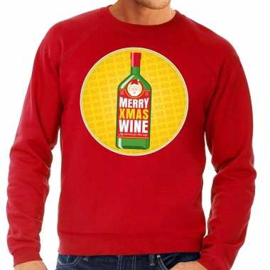 Goedkope foute kersttrui merry christmas wine rood heren