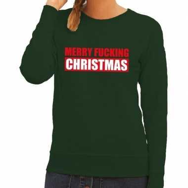 Goedkope foute kersttrui merry fucking christmas groen voor dames
