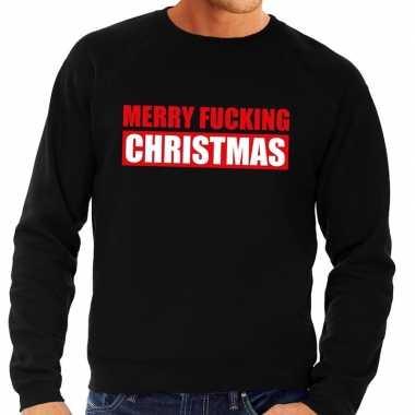 Goedkope foute kersttrui merry fucking christmas zwart voor heren