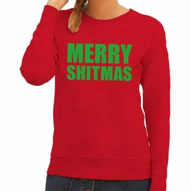 Goedkope foute kersttrui merry shitmas rood voor dames
