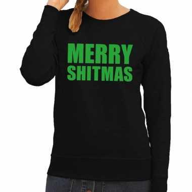 Goedkope foute kersttrui merry shitmas zwart voor dames