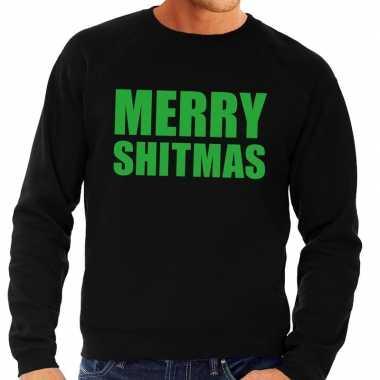 Goedkope foute kersttrui merry shitmas zwart voor heren
