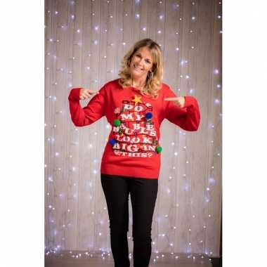 Goedkope foute kersttrui met verlichting voor dames