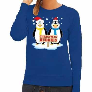 Goedkope foute kersttrui pinguin vriendjes blauw dames