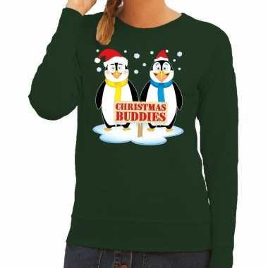 Goedkope foute kersttrui pinguin vriendjes groen dames