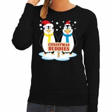 Goedkope foute kersttrui pinguin vriendjes zwart dames