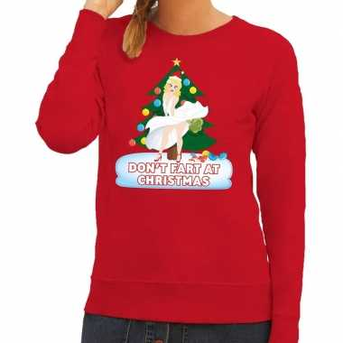 Goedkope foute kersttrui rood dont fart at christmas voor dames