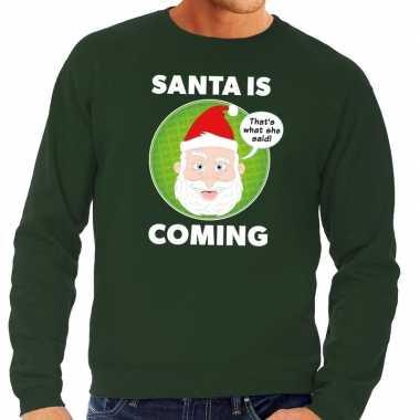 Goedkope foute kersttrui santa is coming groen voor heren