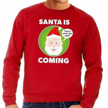 Goedkope foute kersttrui santa is coming rood voor heren
