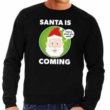 Goedkope foute kersttrui santa is coming zwart voor heren