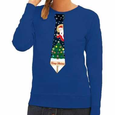 Goedkope foute kersttrui stropdas met kerst print blauw voor dames
