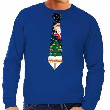 Goedkope foute kersttrui stropdas met kerst print blauw voor heren