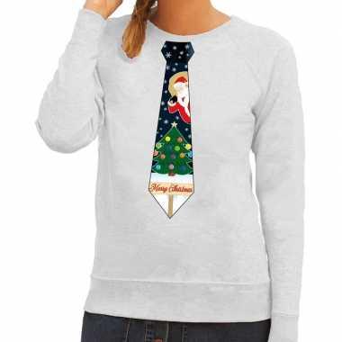 Goedkope foute kersttrui stropdas met kerst print grijs voor dames