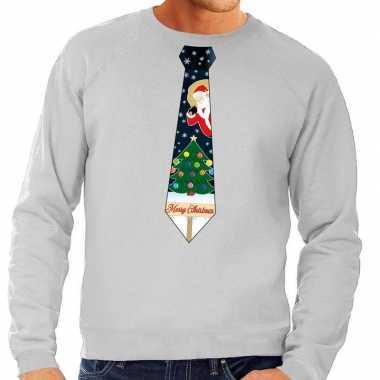 Goedkope foute kersttrui stropdas met kerst print grijs voor heren