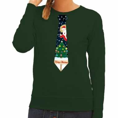 Goedkope foute kersttrui stropdas met kerst print groen voor dames